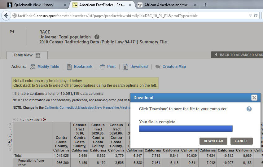 American FactFinder (AFF) takes a moment to generate the file. Now you can download it.