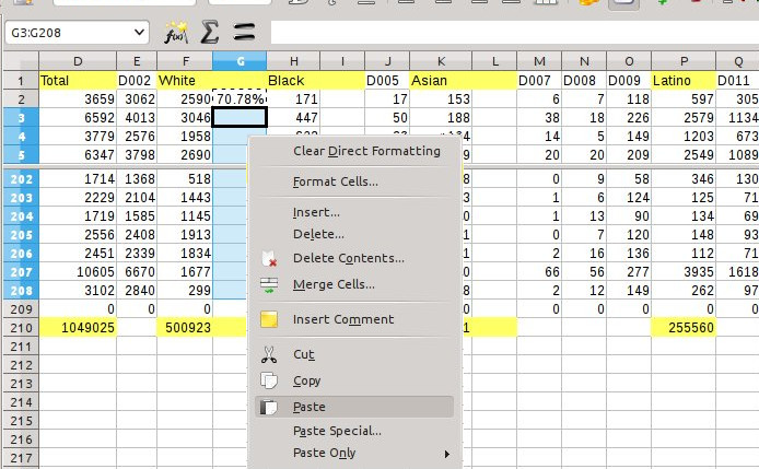 Up in the first data-cell in the column (row 2), I just entered the formula. Then I copied that cell. Then I selected all the other cells below it in the column. Now I am about to paste the formula into those cells.