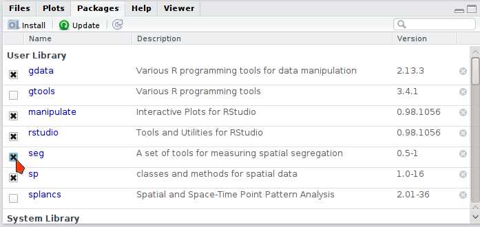 "Screenshot of the lower right-hand ""View"" pane in R-Studio, with the ""Packages"" tab brought forward."