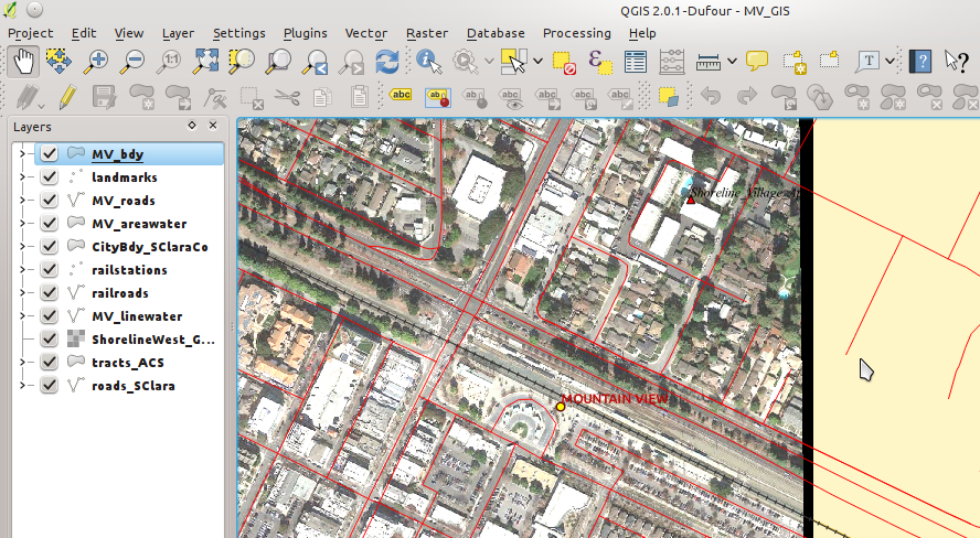 screenshot of QGIS with a series of Mountain View files loaded